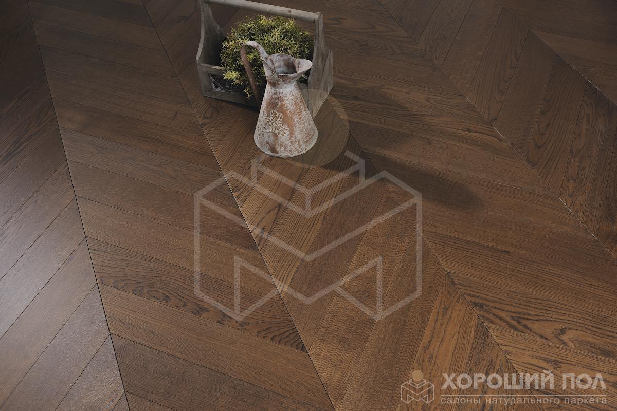 Паркет елка COSWICK Французская елка Дуб Молочный Шоколад Французская елка Масло шелковое Массив T&G (шип-паз) 1 Коммон 1128-3217