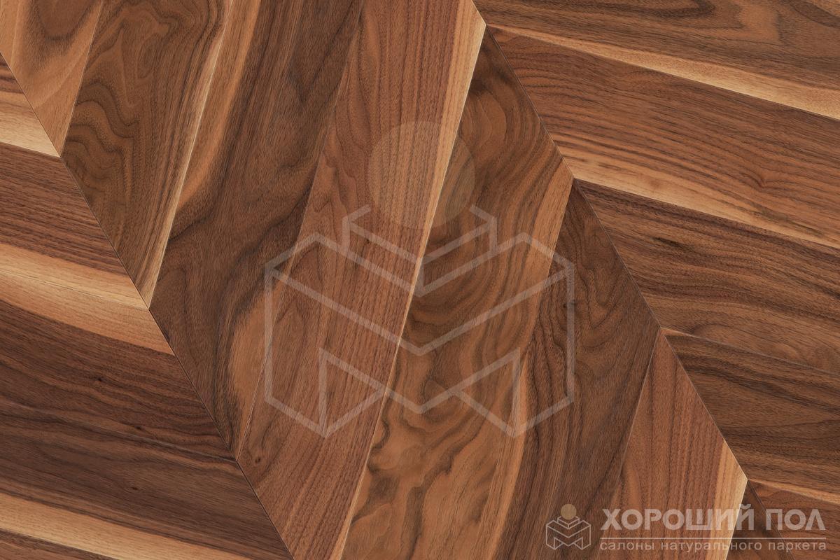 Паркет елка COSWICK Французская елка Орех Американский Натуральный Французская елка Лак 3-х слойный T&G (шип-паз) Традишинал 1383-3101