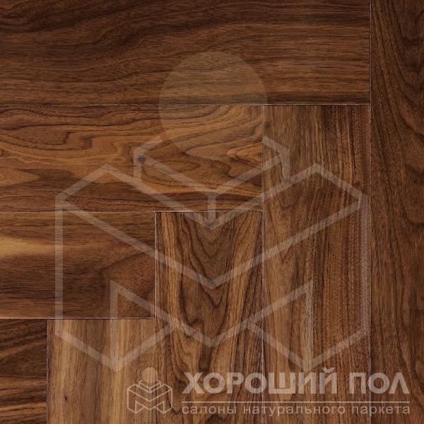 Паркет елка COSWICK Английская елка Орех Американский Натуральный Ренессанс Лак 3-х слойный T&G (шип-паз) Селект энд Бэттер 1322-1101