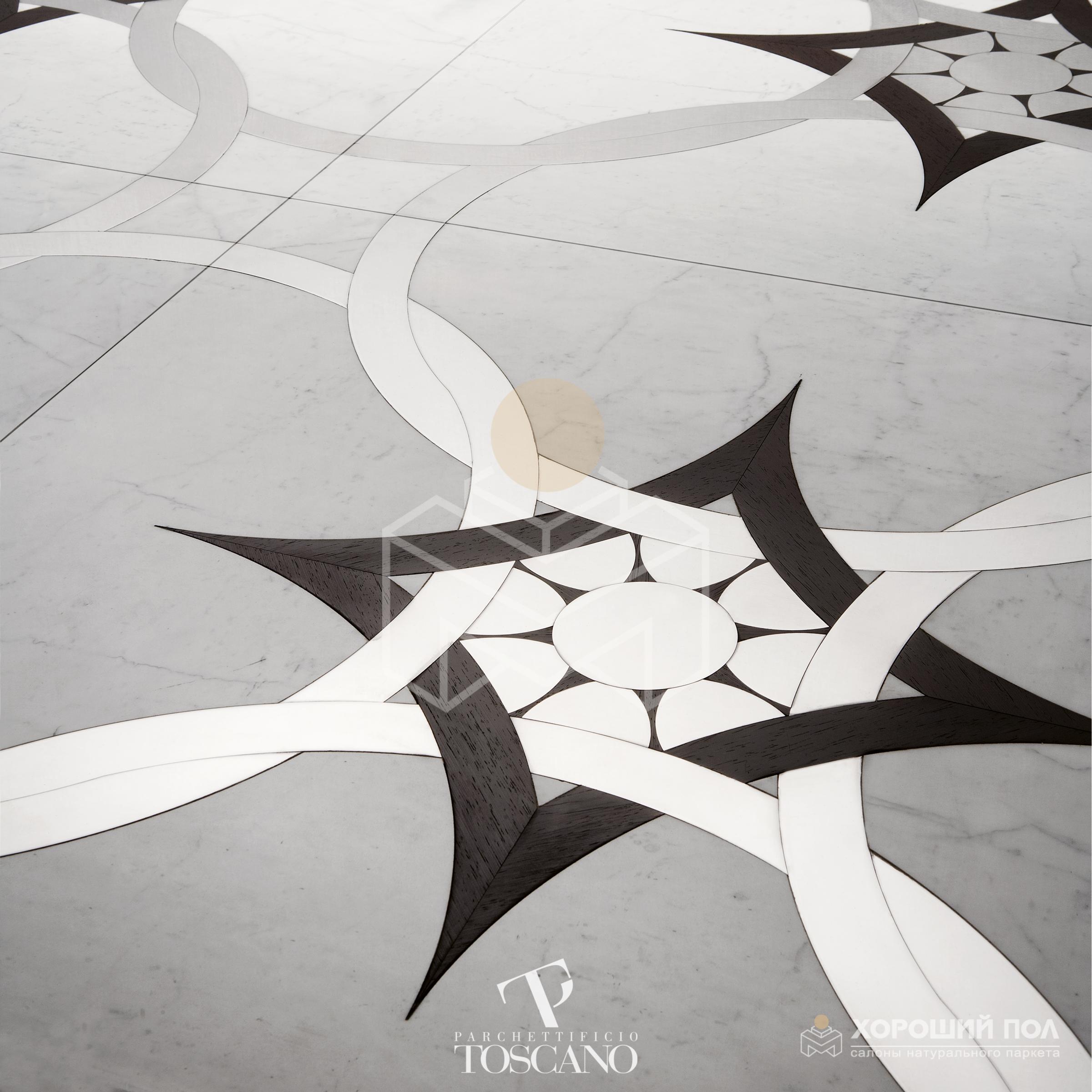 Авторский модульный паркет TOSCANO – Италия Дуб, Орех HiStorical 2-х слойная шип-паз 8888-43